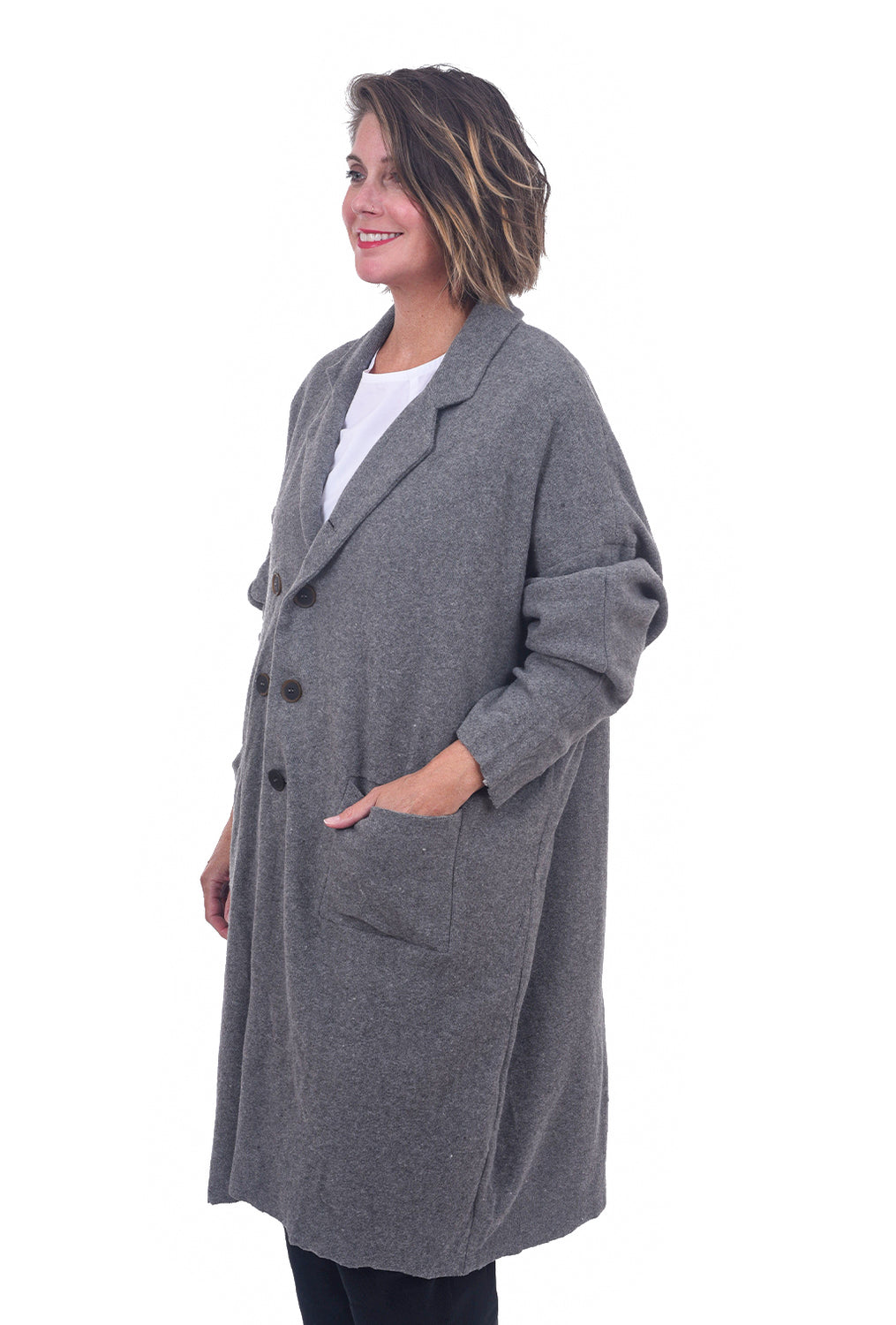 Umit Unal Lofted Wool Slouch Coat, Gray