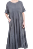 Oro Bonito Tiered Jersey Maxi Dress, Charcoal One Size Charcoal