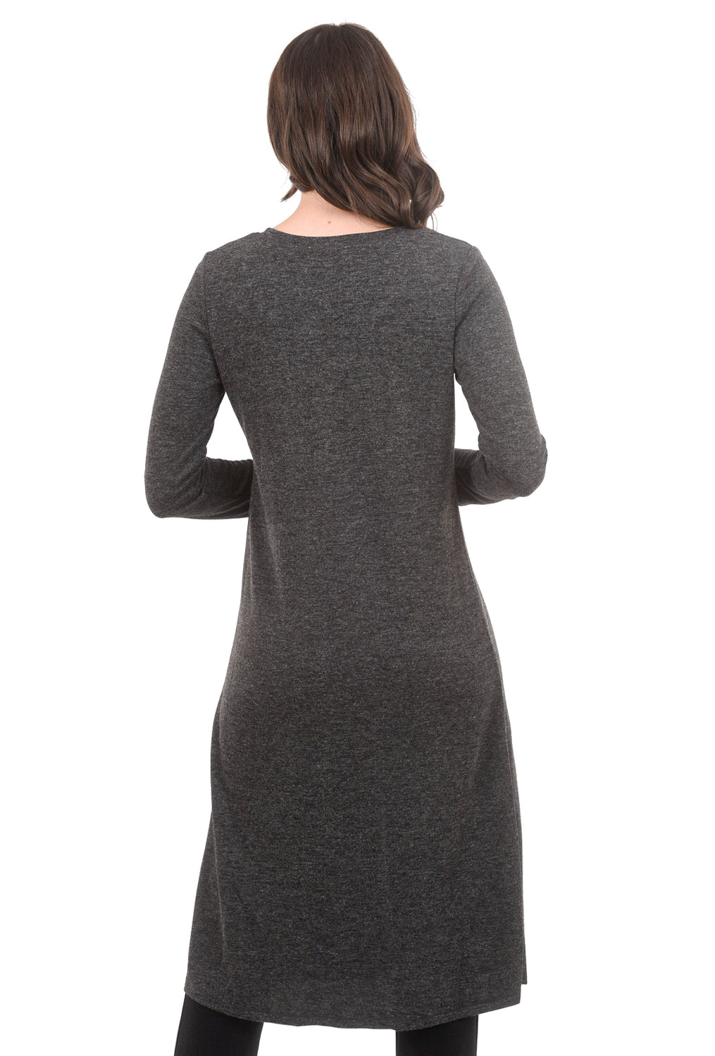 Patrizia Luca Front-Slit Sweater Tunic, Charcoal