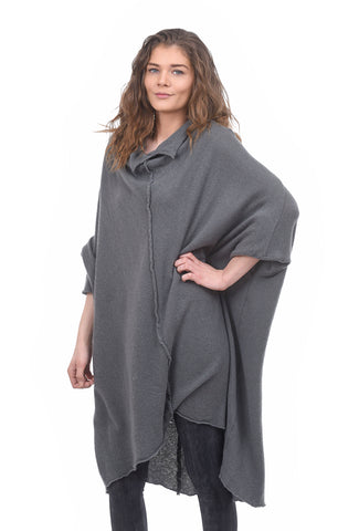 Rundholz Collection Spring Cashmere Cowl Tunic, Paddy Gray One Size Gray