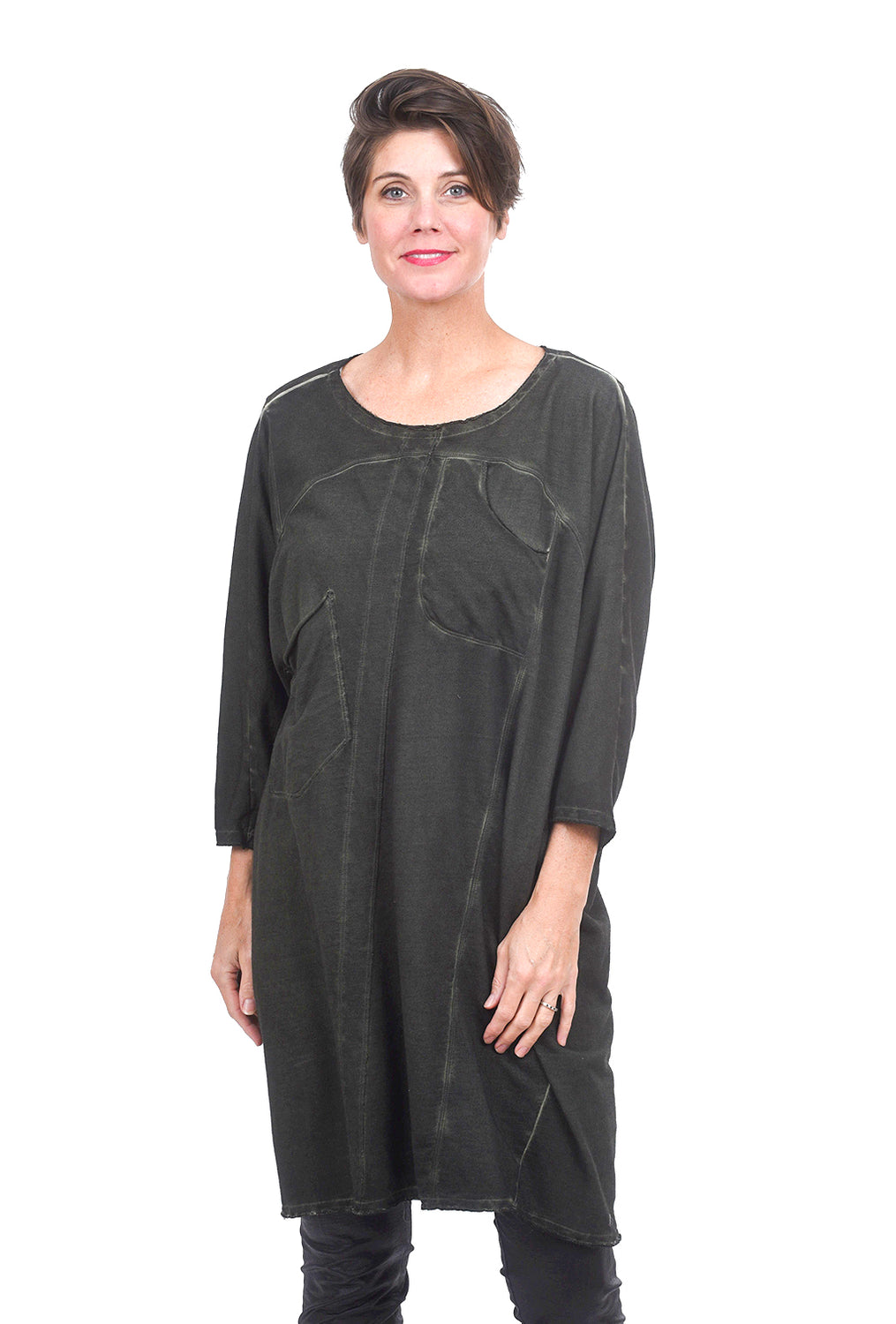 Grizas Tonal Dot Dolman Dress, Pine Green
