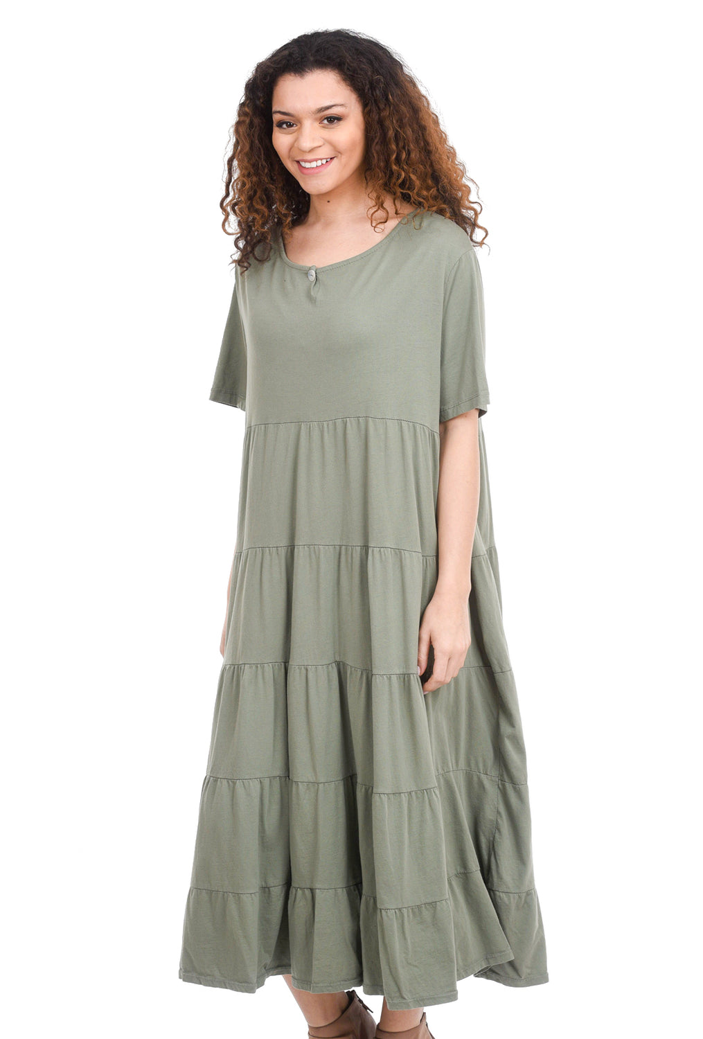 Oro Bonito Tiered Jersey Maxi Dress, Olive One Size Olive