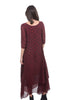 Grizas Dot Chiffon Layered Dress, Burgundy