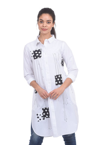Snapdragon & Twig Harley Shirt Tunic, White/Doodle