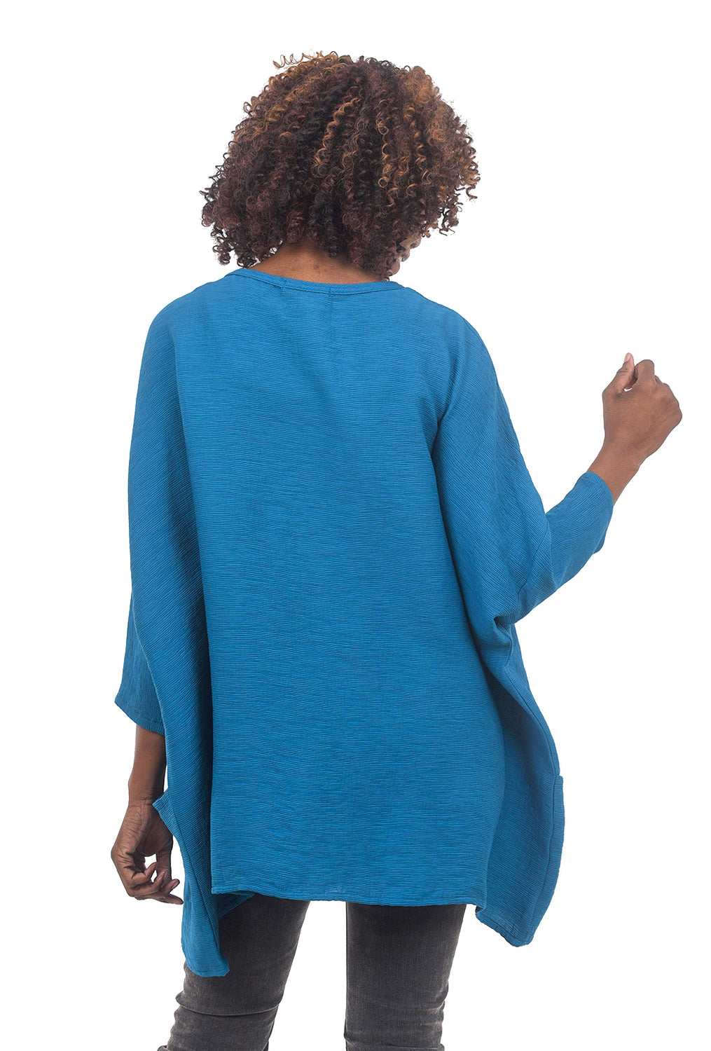 Cut Loose Oversized Crinkle Pullover, Deep Sea Blue One Size Blue