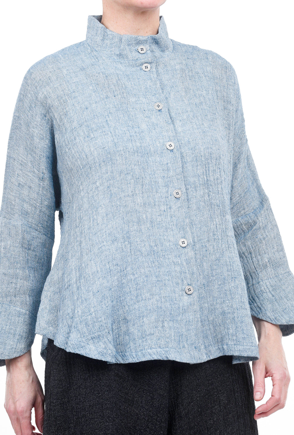 M Square Circular Linen Jacket, Sea Blue