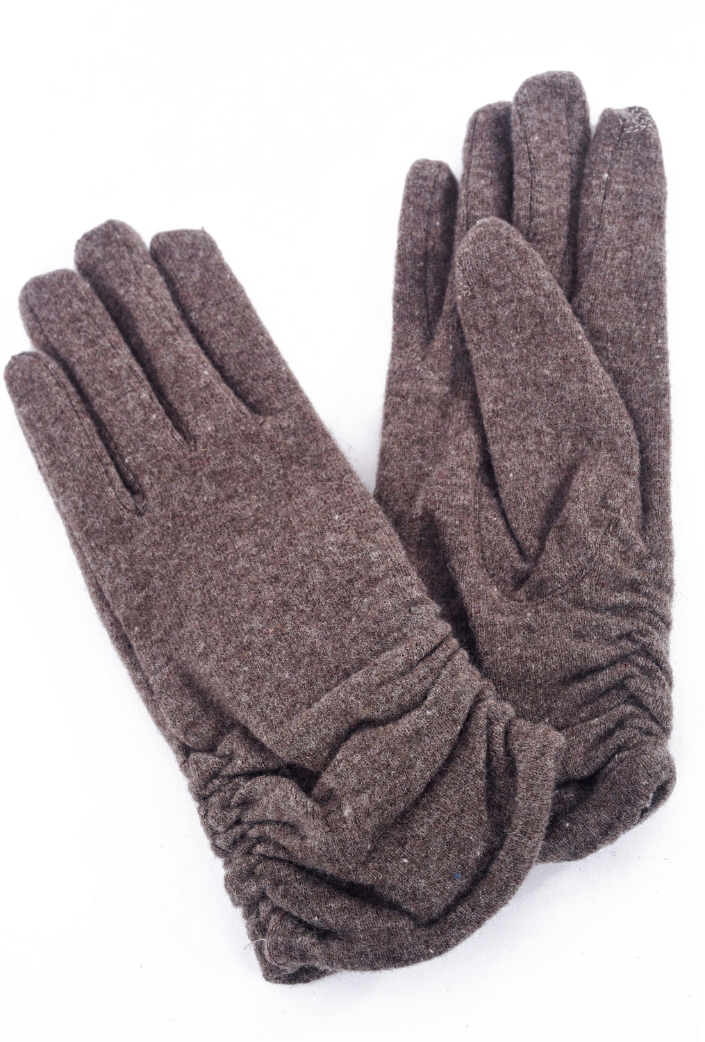 Santacana Madrid Tech-Touch Wool & Cashmere Gloves, Dark Taupe One Size Taupe