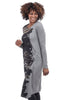Crea Concept Knit Print Gather Dress, Gray/Black