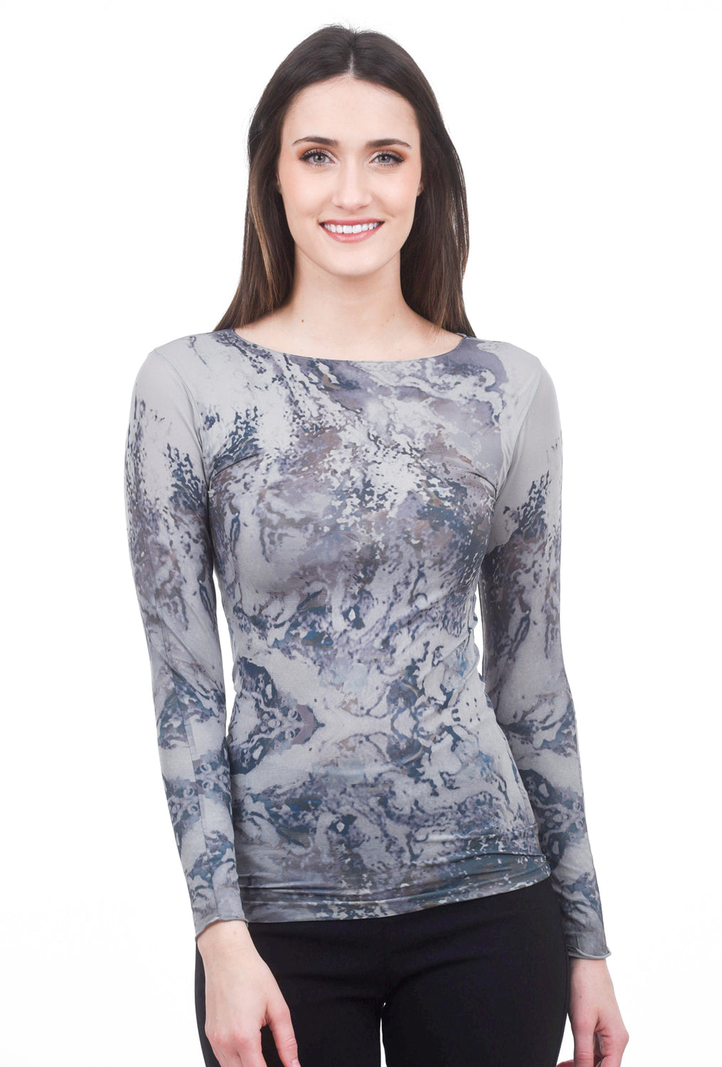 AMB Designs Silver Waves Raw Edge Top, Neutral Gray One Size Gray