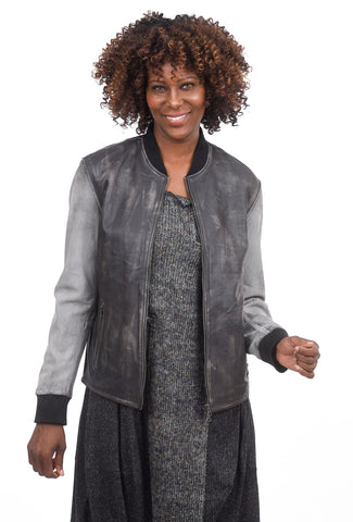 Jackett Holly Distressed Bomber Jacket, Pewter