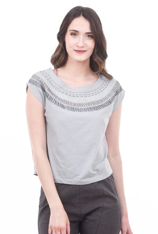 Tonle Keang Embroidered Top, Gray