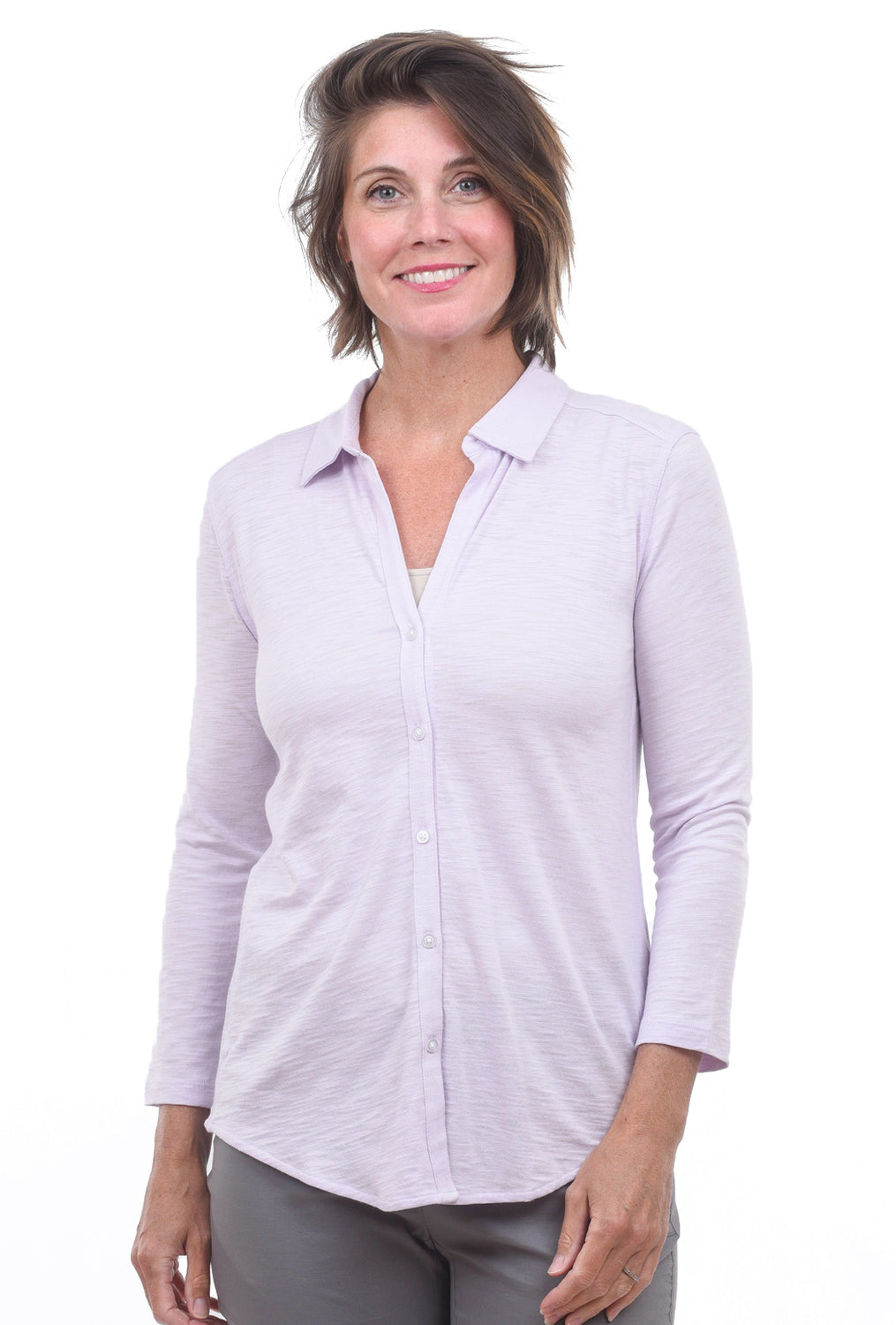 Lilla P Knit Button-Down, Lilac