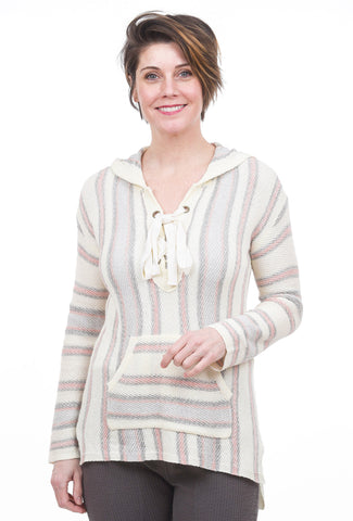 Hem & Thread Lace-Up Split Hem Stripe Hoodie, Pink/Gray
