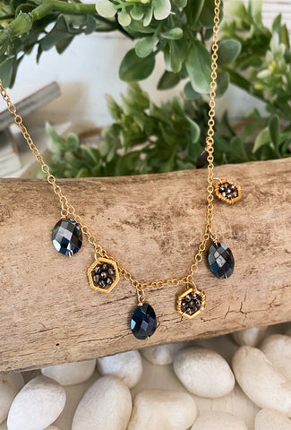 Michelle Pressler Coated Onyx/Pyrite Necklace