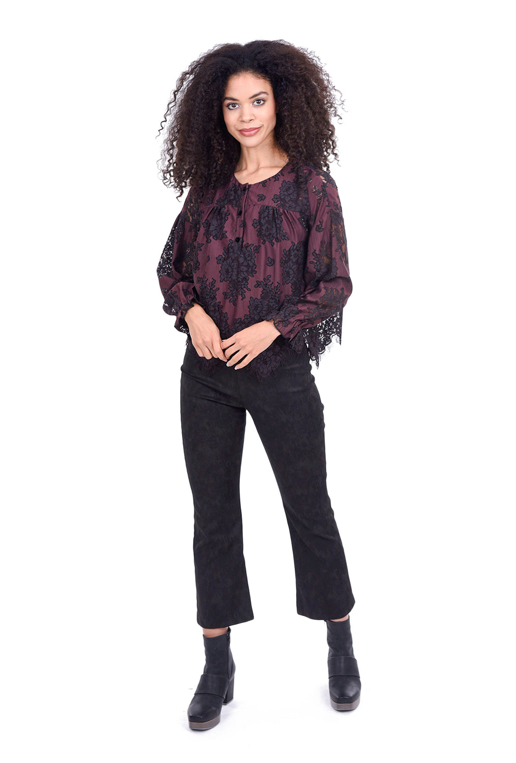 The Korner Sparkle Shirred Blouse, Prune/Black