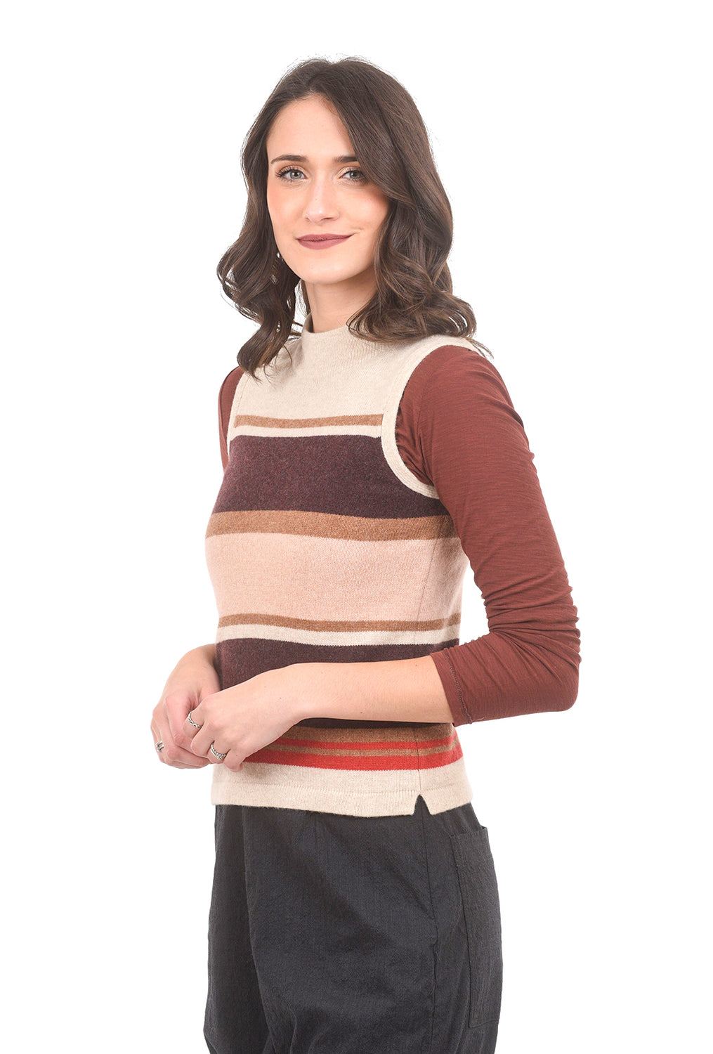 Margaret O'Leary Knits Striped Mock Neck Vest, Camel