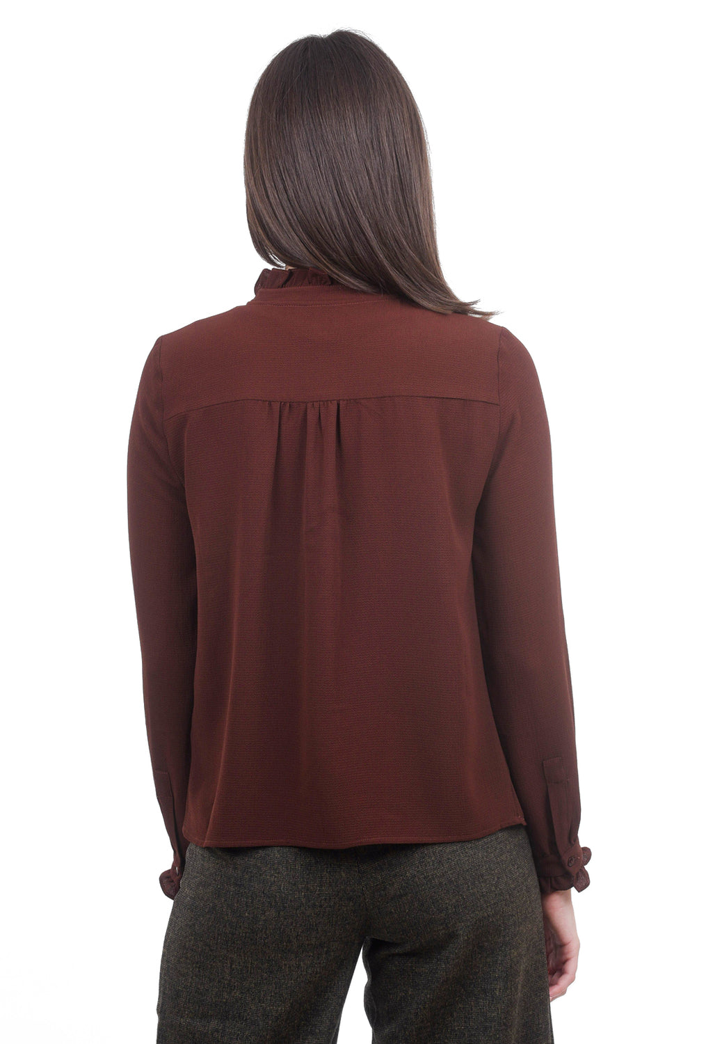 See You Soon Pebbled Chiffon Blouse, Brown