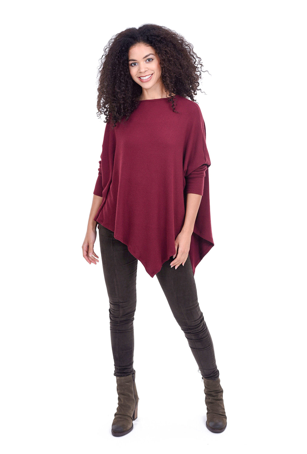 Stark x Ribbed Asymmetric Cozy Top, Deep Berry