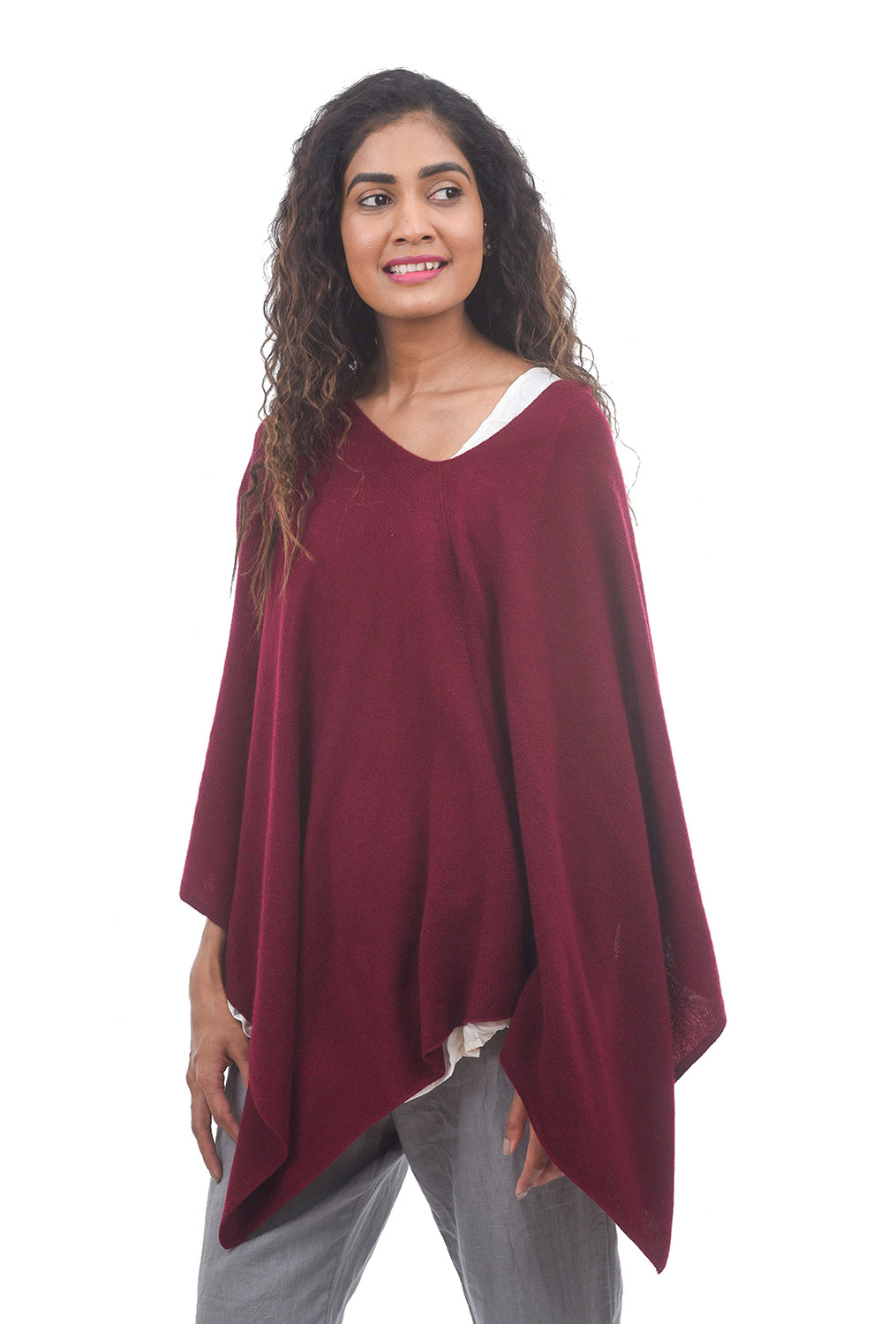 In Cashmere Cashmere Ruana, Currant Red One Size Red