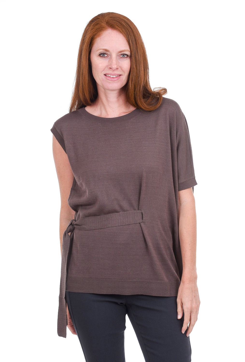 M. Rena Asymmetric Tie-Detail Sweater, Mauve