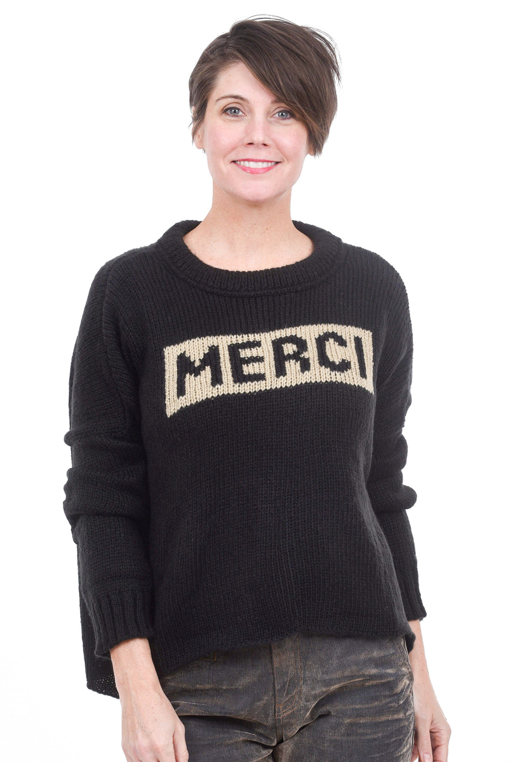 Wooden Ships Merci Thanksgiving Sweater, Black