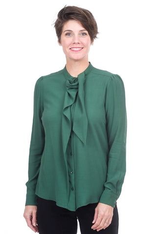 Summum Viscose Scarf Blouse, Forest Green