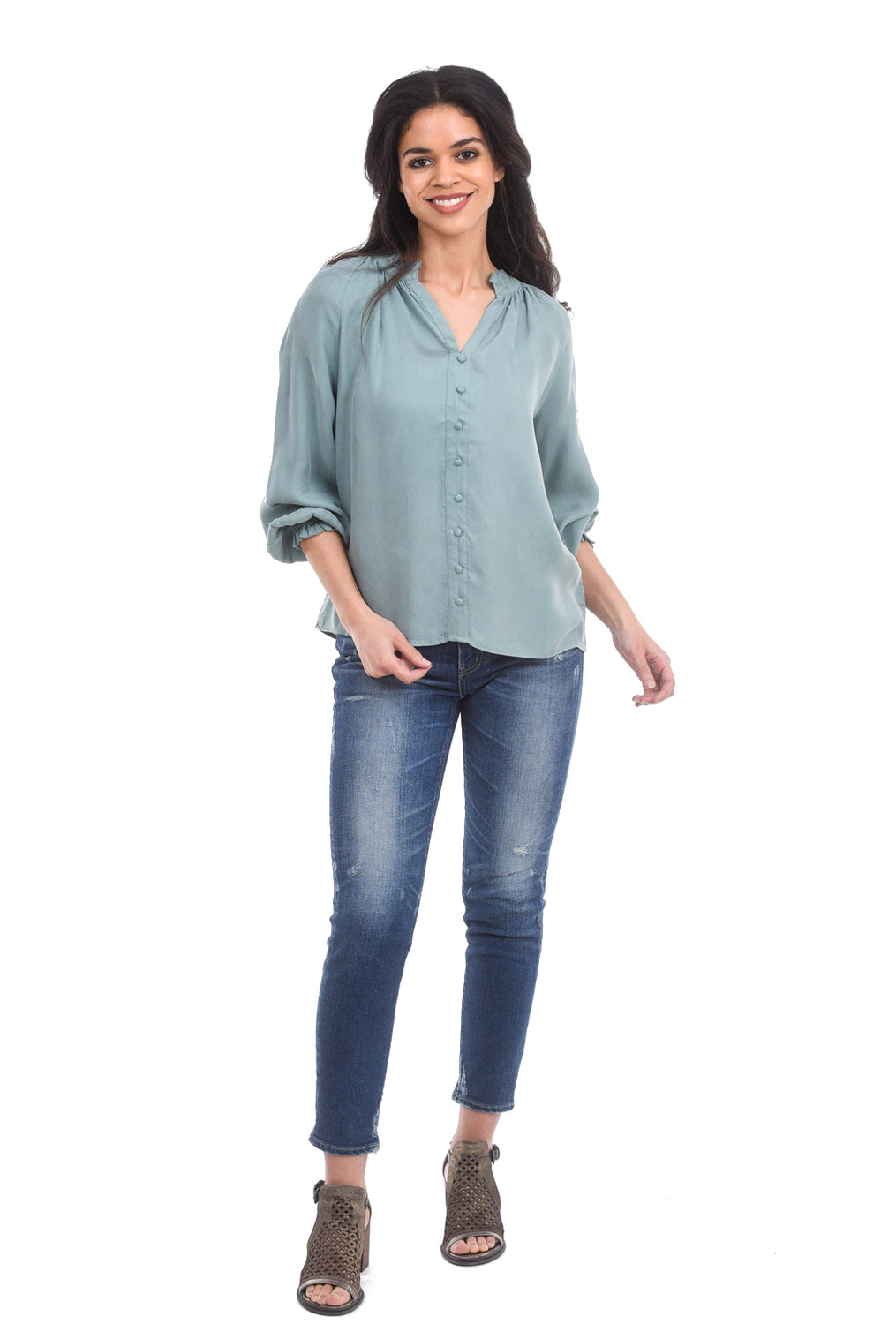 Current Air Ruffle Collar Blouse, Mint