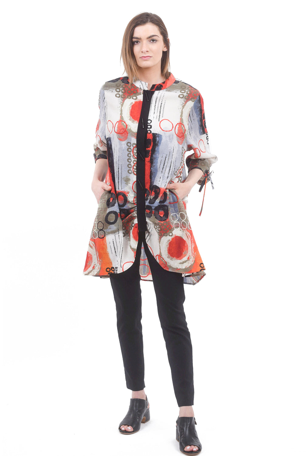 Moonlight Mandarin Collar Tuck Jacket, Orange Multi