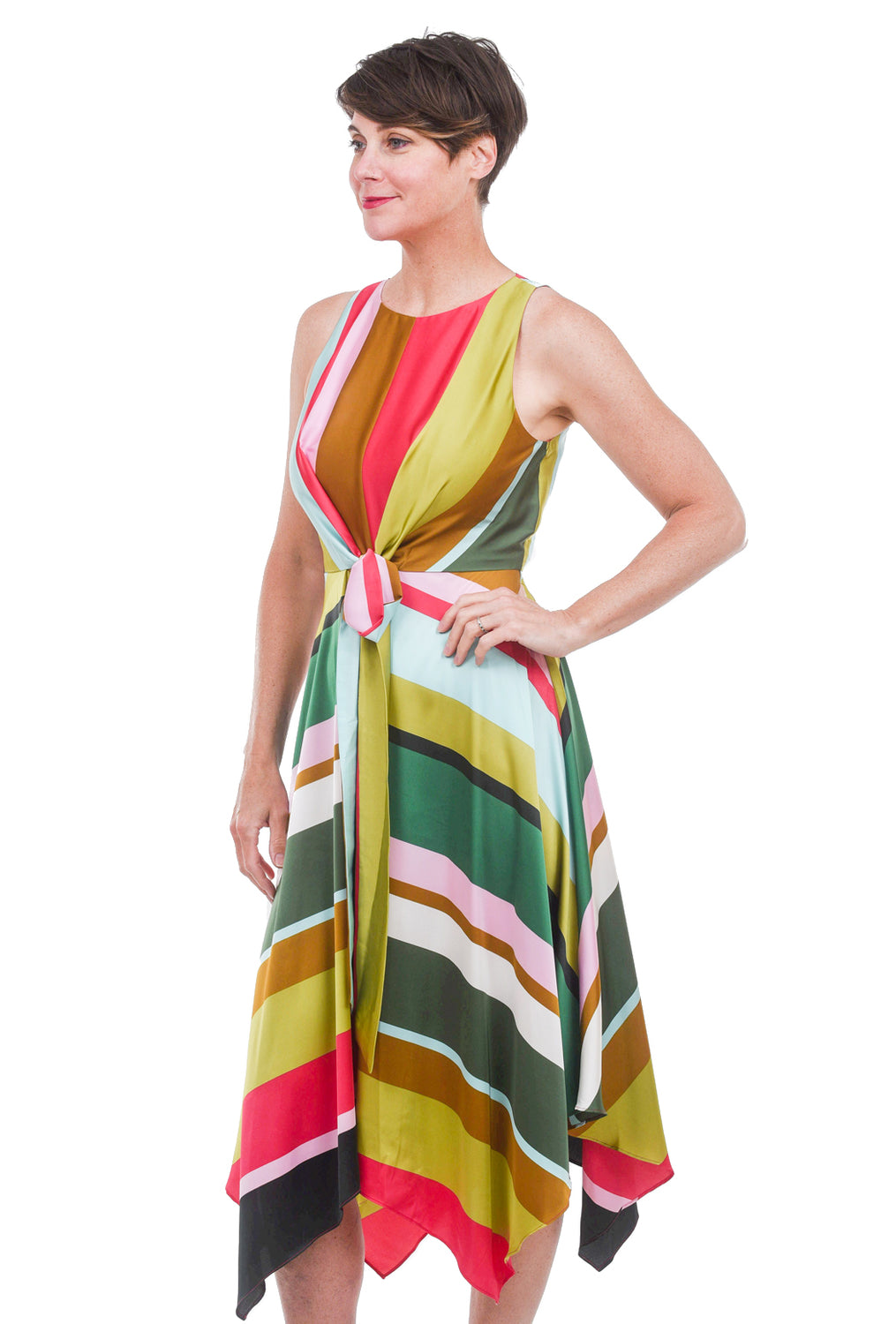 Maggy London Scarf Detail Party Dress, Chartreuse Multi