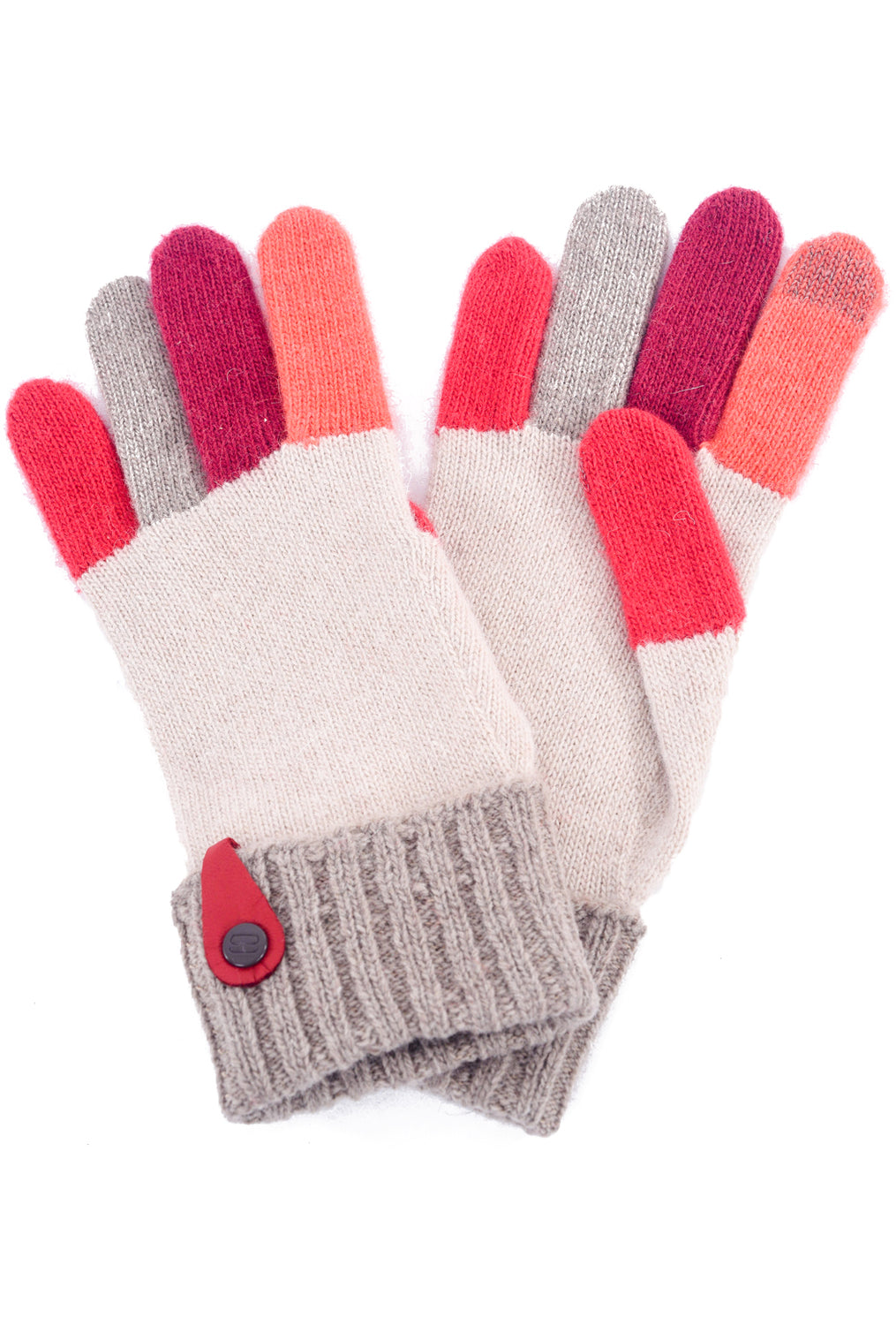 Santacana Madrid Multi-Color Knitted Gloves, Beige/Orange One Size Cream