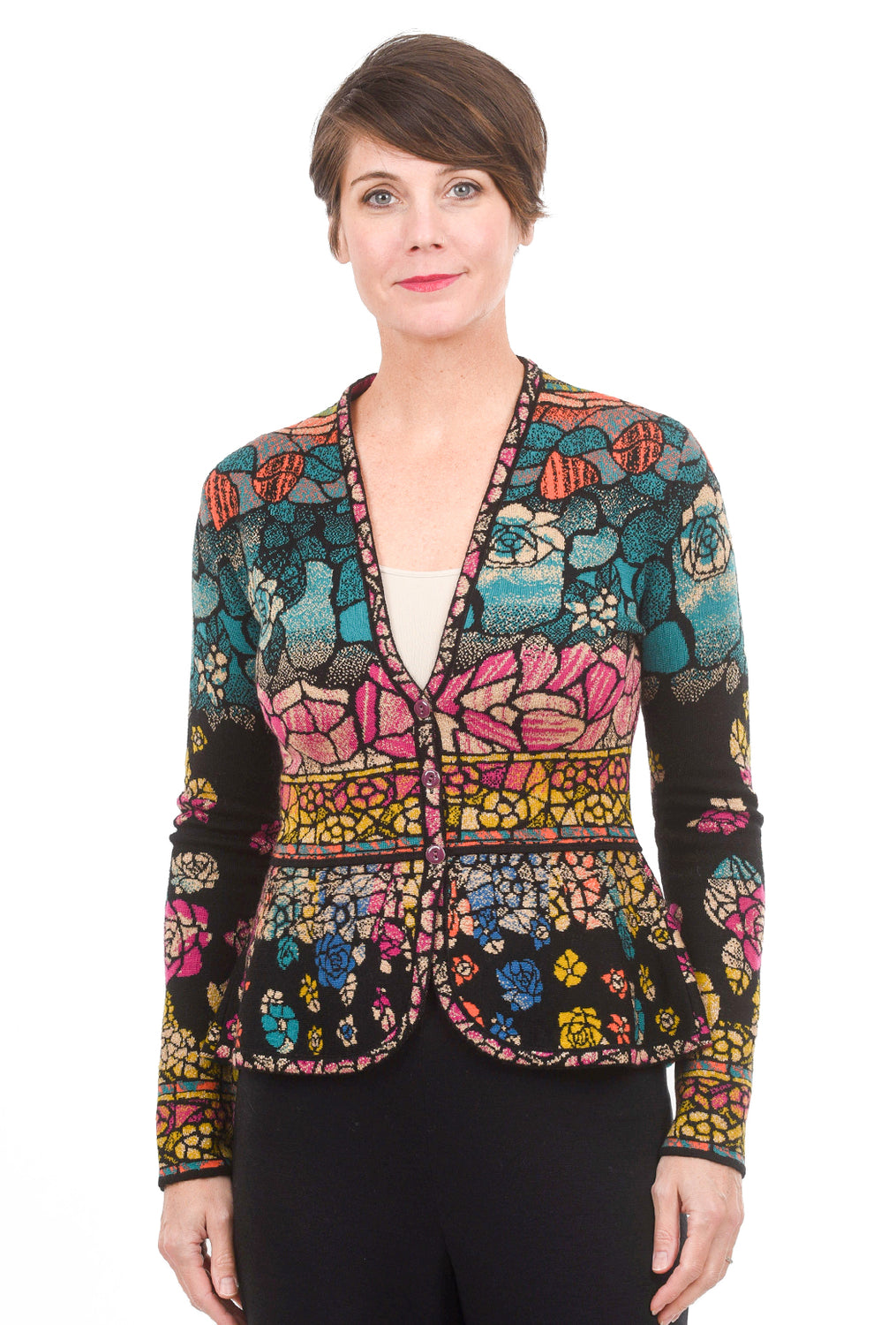 Ivko Women Tiffany Print Cardie, Black