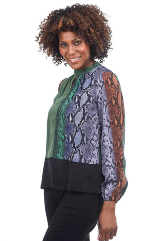 Summum Cupro Snake Blouse, Green