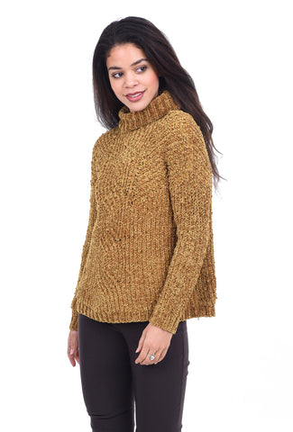 Hem & Thread Distressed Cable Detail Tneck Sweater, Mustard