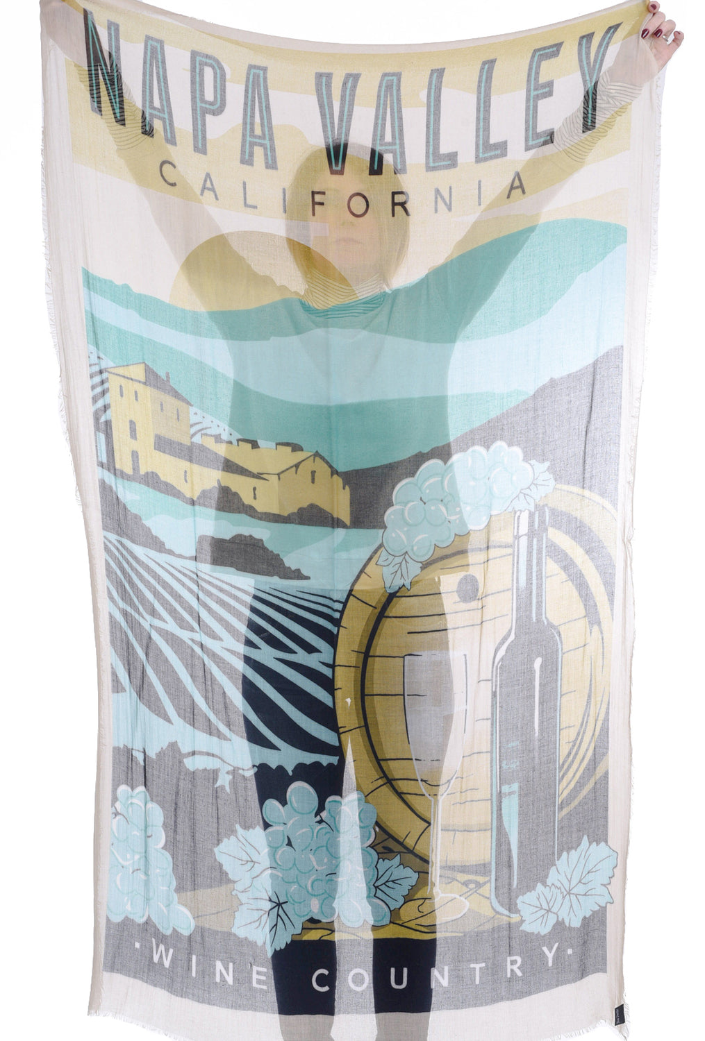 Blue Pacific Vintage Vineyard Scarf, Straw Napa Valley One Size Straw