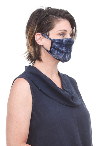 Coin1804 Cotton Jersey Face Mask, Blue Tie-Dye