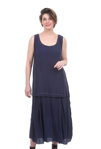 Umit Unal Drop-Waist Chiffon Dress, Marine Blue