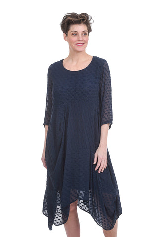 Grizas Water Spot Dot Dress, Navy
