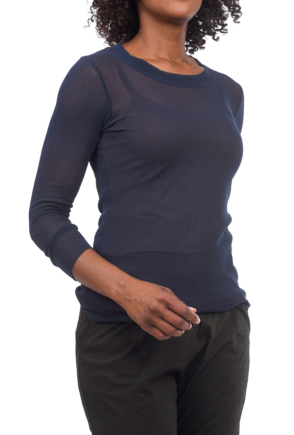 Cynthia Ashby CA Longer Mesh Tee, Navy