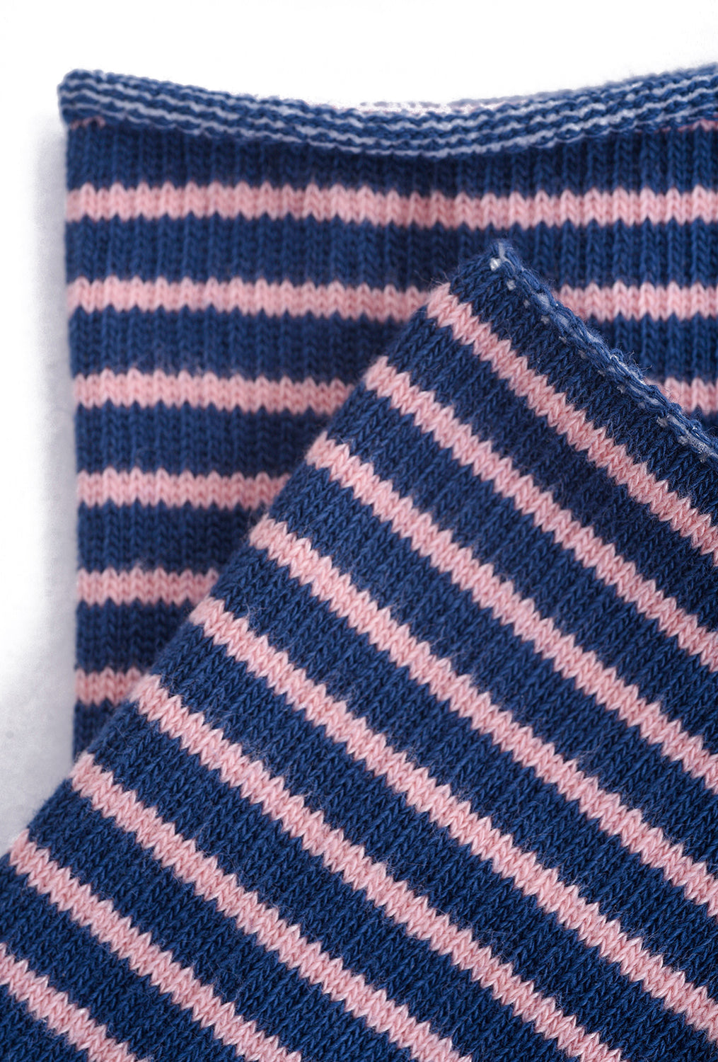 Little River Sock Mill Striped Slouch Sock, Navy/Blossom Pink One Size Navy
