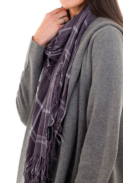 Blue Pacific Tissue Plaid Scarf, Slate