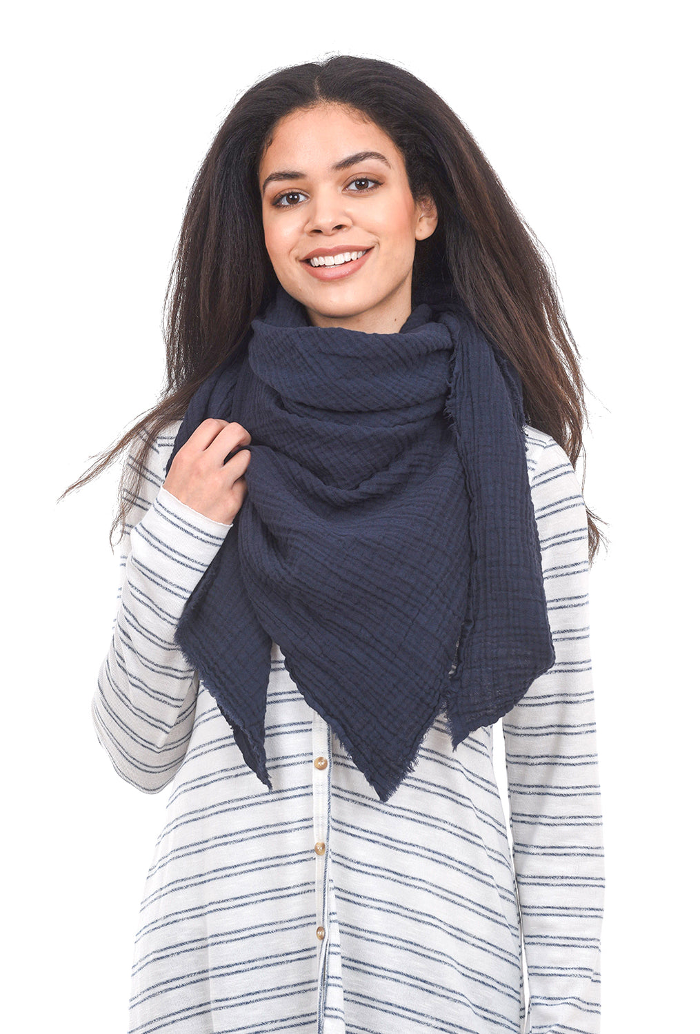 It Is Well ISW Gauze Scarf, Navy One Size Navy