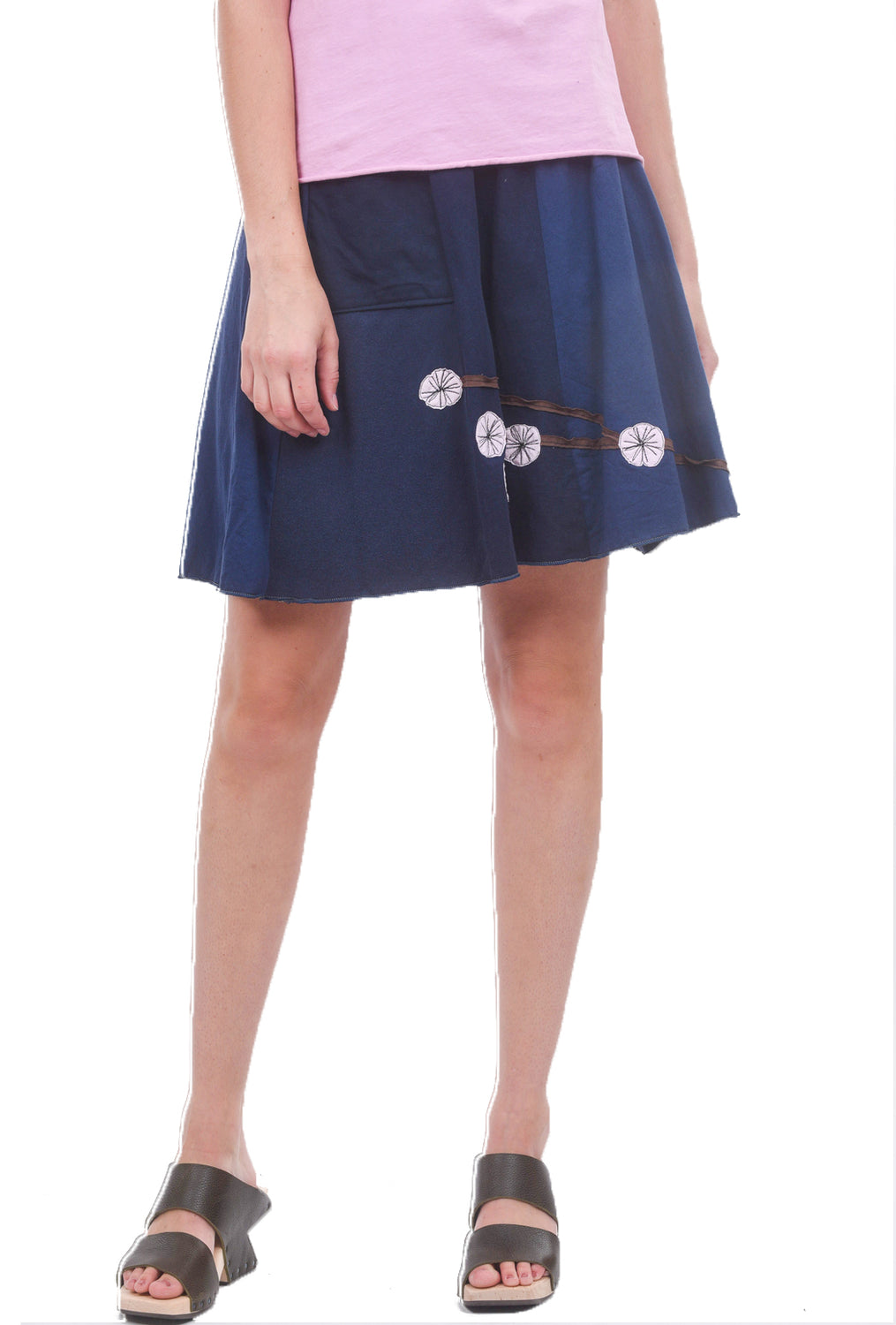 Sardine Clothing Company Shorter Recycled Tee Skirt, Navy/Pink