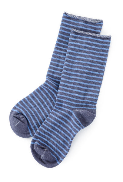Little River Sock Mill Striped Slouch Socks, Denim/Cornflower One Size