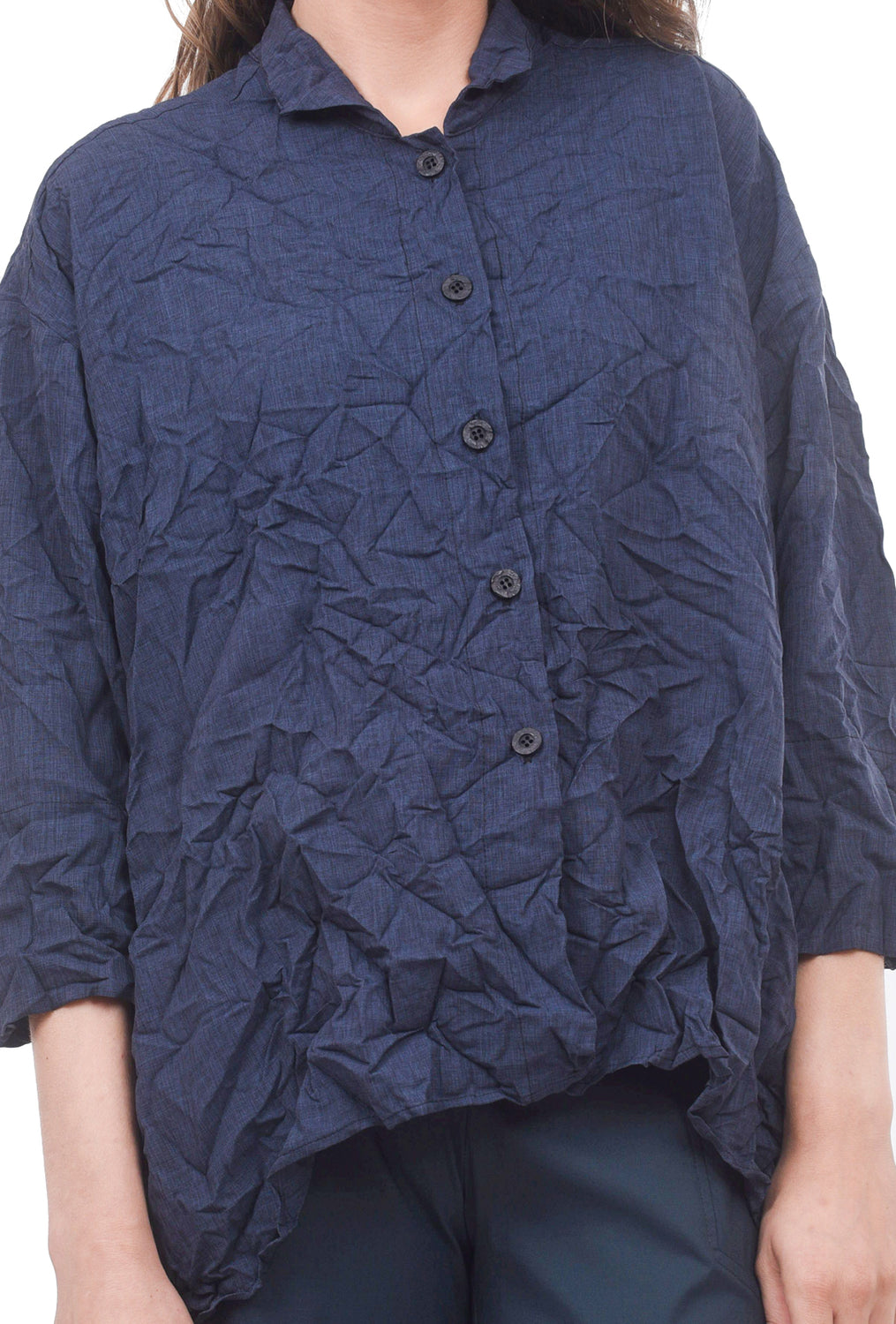 M Square Crinkle Woven Long Shirt, Slate Blue