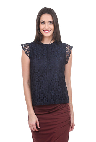 Nanette Nanette Lepore Lace High-Neck Blouse, Navy
