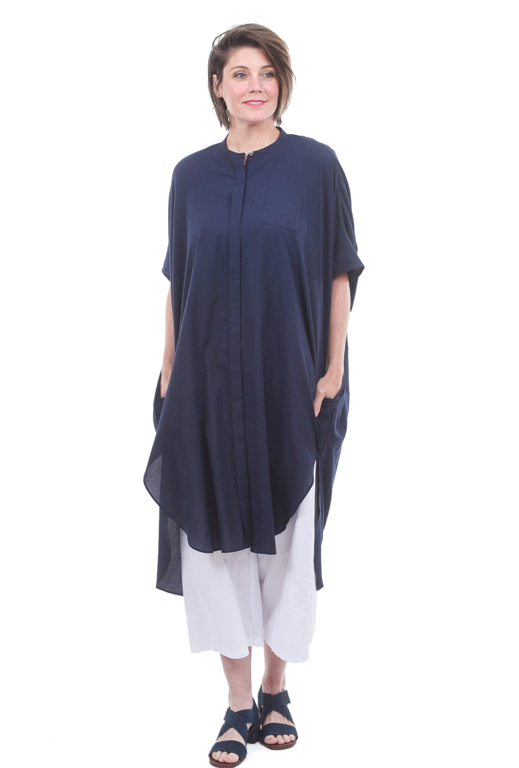 Mizuiro Ind Gather-Back Yoke Dress, Navy