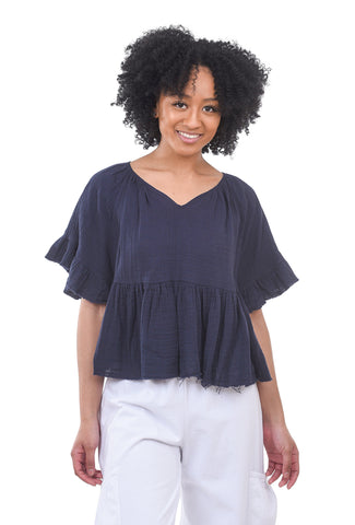 Stark x Flirty Flounce Top, Navy Blue