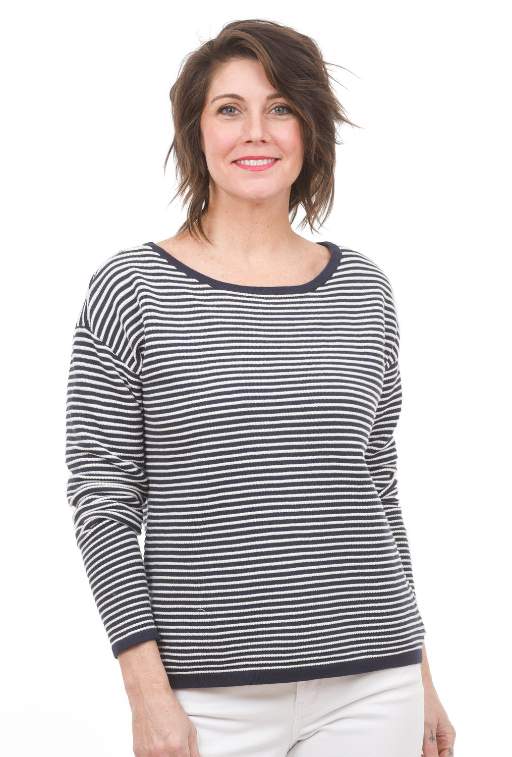 NYDJ Nautical Stripe Sweater, Navy/White