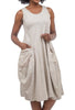 Oro Bonito Two-Pocket Easy Tank Dress, Beige One Size Beige
