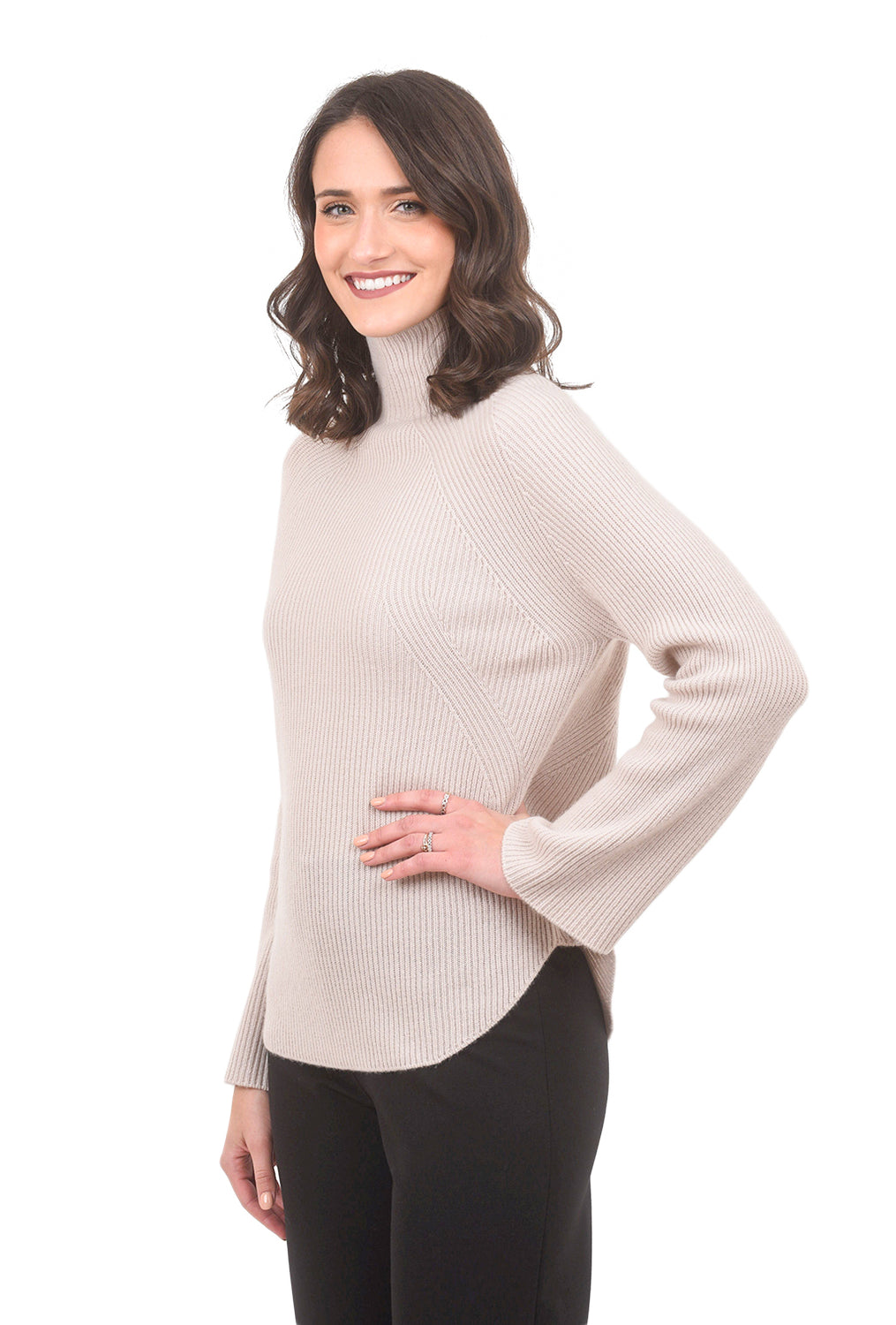 Margaret O'Leary Knits Funnel Cashmere Tunic, Pink Sand